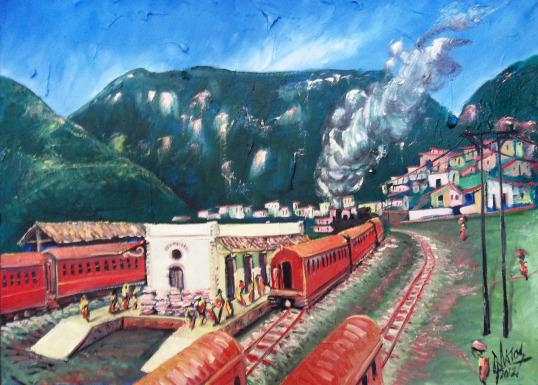 Antiga estação de trem de Jacobina. Pintura do meu amigo Cícero Matos (http://pinturascmatos.wordpress.com)