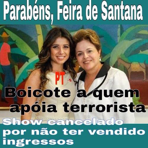 Na reprodução de postagem do Revoltados ON LINE antipetistas trocaram Conquista por Feira.
